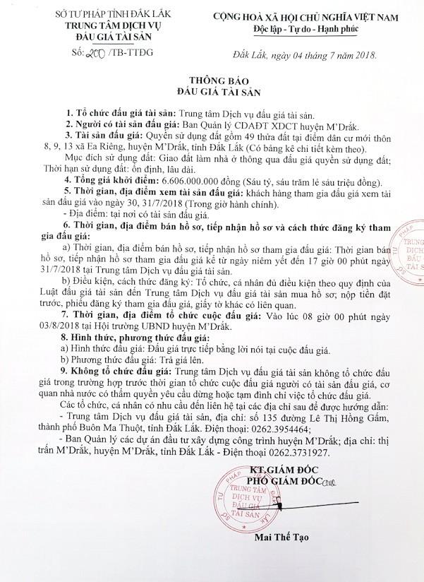 Đấu giá quyền sử dụng đất tại huyện M'Drắk, Đắk Lắk - ảnh 1