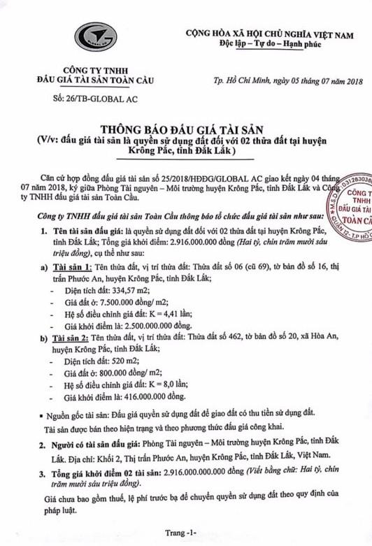 Đấu giá quyền sử dụng đất tại huyện Krông Pắc, Đắk Lắk - ảnh 1