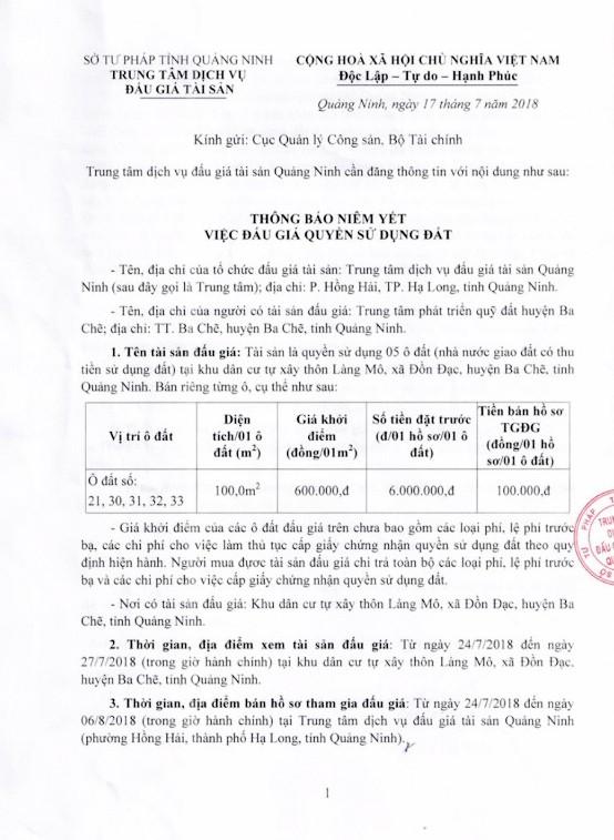 Đấu giá quyền sử dụng đất tại huyện Ba Chẽ, Quảng Ninh - ảnh 1