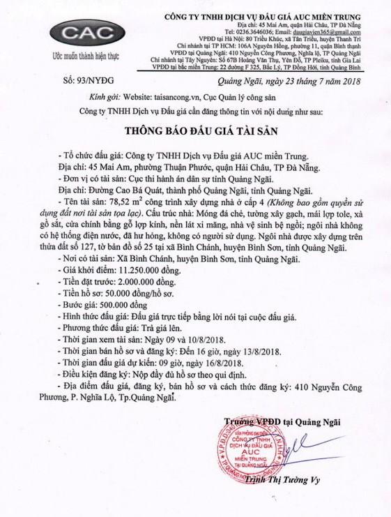 Đấu giá CTXD tại Quảng Ngãi - ảnh 1