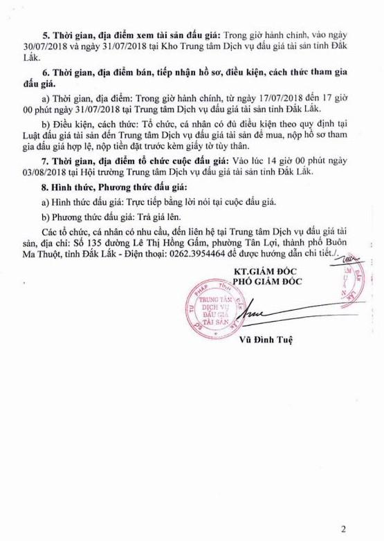Đấu giá lô hàng hóa các loại tại Đắk Lắk - ảnh 2