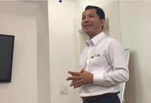Ông Lê Minh Tâm trong một buổi gặp gỡ nhà đầu tư vào tháng 4/2018.
