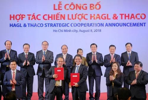 Lễ công bố hợp tác chiến lược giữa Hoàng Anh Gia Lai và Trường Hải.