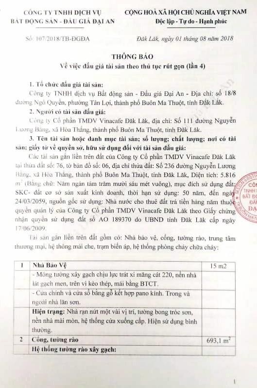 Đấu giá các tài sản gắn liền trên đất của CTCP TMDV Vinacafe Đắk Lắk - ảnh 1