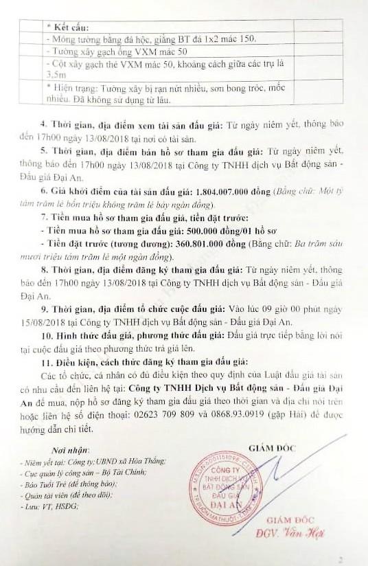Đấu giá các tài sản gắn liền trên đất của Công ty Cổ phần TMDV Vinacafe Đắk Lắk - ảnh 2