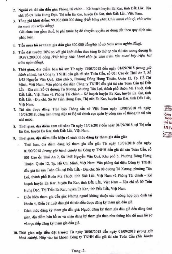 Ngày 4/9/2018, đấu giá quyền sử dụng đất tại huyện Ea Kart, Đắk Lắk - ảnh 2