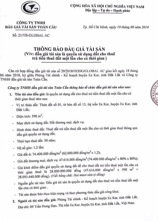Ngày 4/9/2018, đấu giá quyền sử dụng đất cho thuê tại huyện Ea Kart, Đắk Lắk - ảnh 1