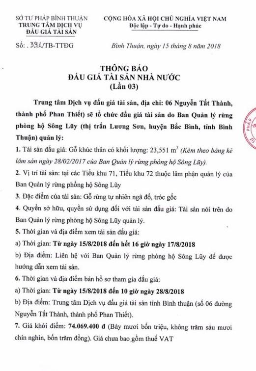 Ngày 31/8/2018, đấu giá gỗ rừng tự nhiên ngã đổ tại Bình Thuận - ảnh 1