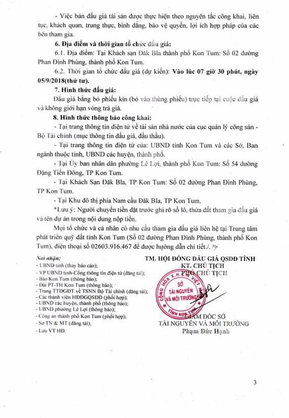Ngày 5/9/2018, đấu giá quyền sử dụng đất tại thành phố Kon Tum, Kon Tum - ảnh 3