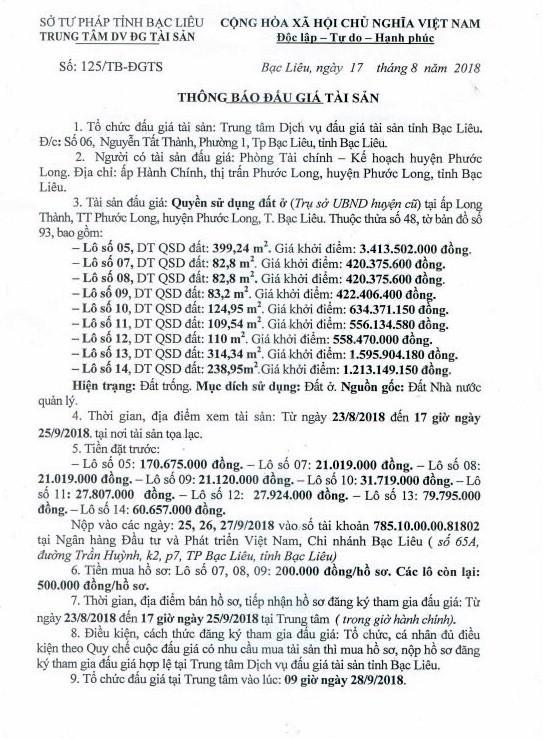 Ngày 28/9/2018, đấu giá quyền sử dụng đất tại huyện Phước Long, Bạc Liêu - ảnh 1