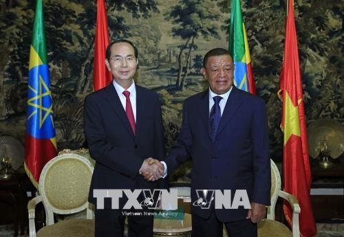 Chủ tịch nước Trần Đại Quang và Tổng thống Mulatu Teshome. Ảnh: TTXVN
