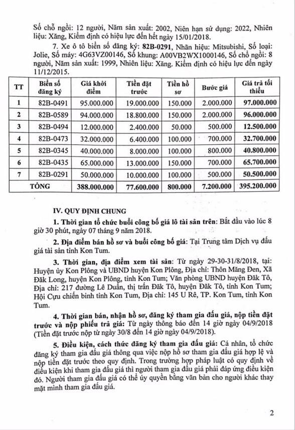 Ngày 7/9/2018, đấu giá lô xe ô tô tại Kon Tum - ảnh 2
