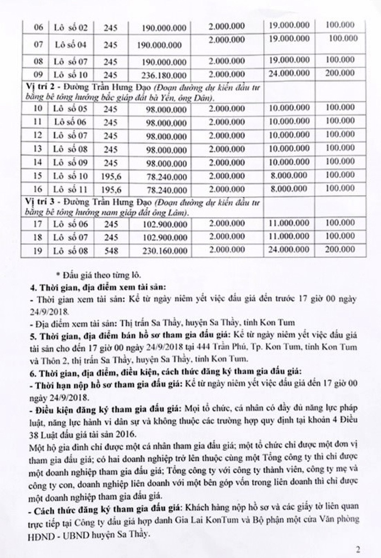 Ngày 27/9/2018, đấu giá quyền sử dụng đất tại huyện Sa Thầy, tỉnh Kon Tum - ảnh 2