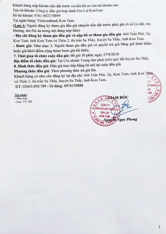 Ngày 27/9/2018, đấu giá quyền sử dụng đất tại huyện Sa Thầy, tỉnh Kon Tum - ảnh 3