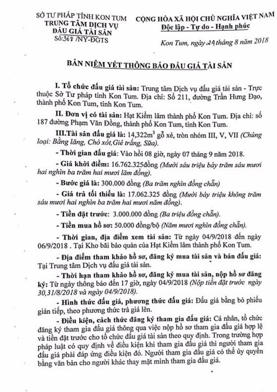 Ngày 7/9/2018, đấu giá gỗ xẻ, tròn nhóm III, V và VII tại tỉnh Kon Tum - ảnh 1