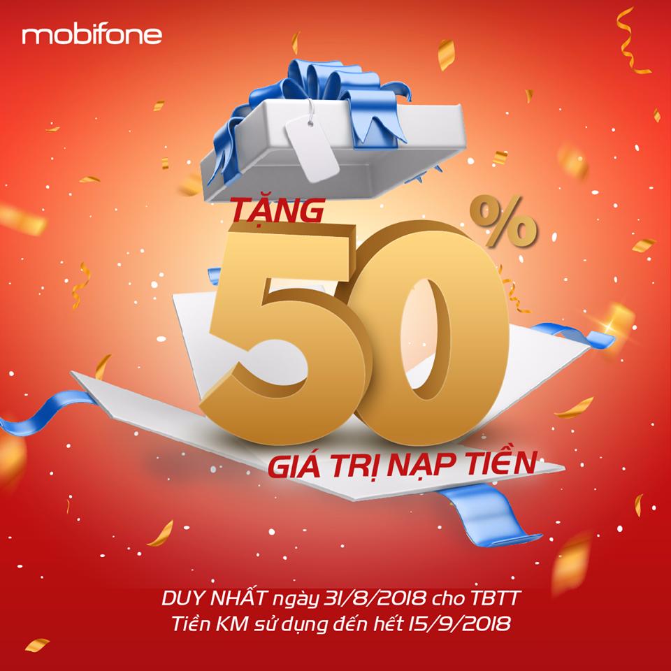Tưng bừng đón Quốc khánh với khuyến mại 50% giá trị thẻ nạp từ MobiFone