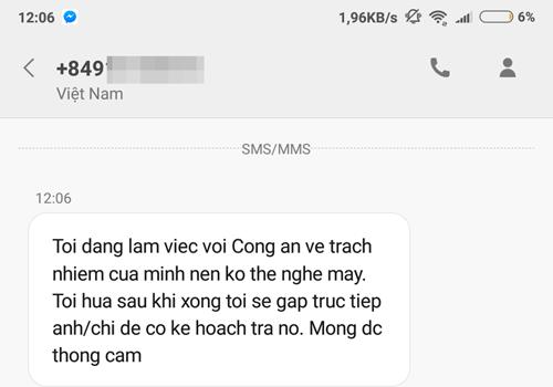 Hầu hết cuộc gọi đến số máy của ông Hoàng Ngọc trưa 1/9 đều nhận được tin nhắn trả lời này.