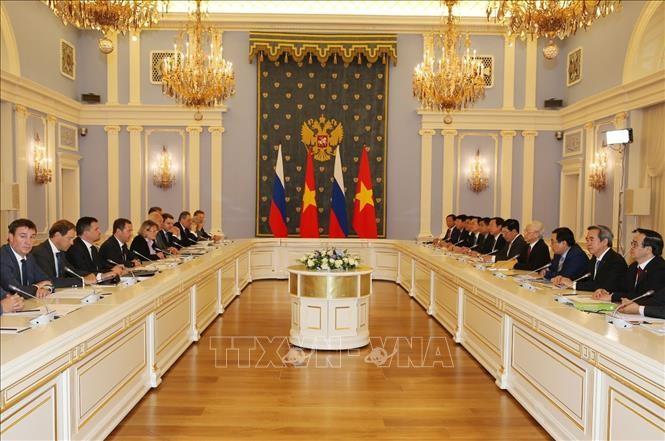 Tổng Bí thư hội kiến Thủ tướng Liên bang Nga - ảnh 1