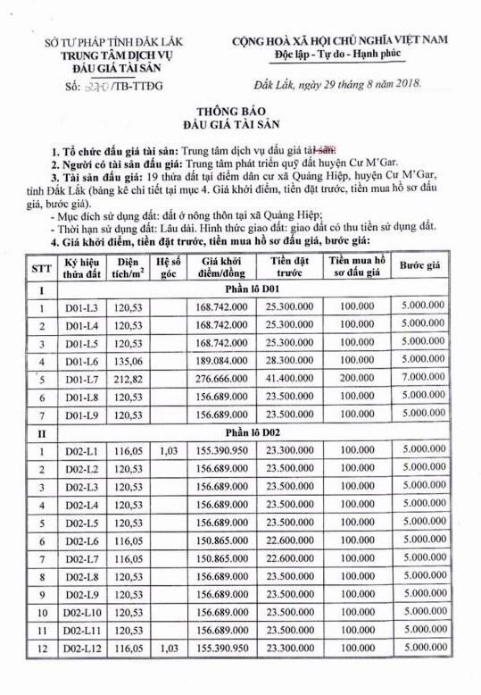 Ngày 28/9/2018, đấu giá quyền sử dụng 19 thửa đất tại huyện Cư M'Gar, tỉnh Đắk Lắk - ảnh 1