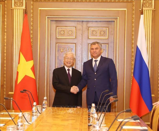 Tổng Bí thư Nguyễn Phú Trọng hội kiến với Chủ tịch Duma Quốc gia Nga Vyacheslav Volodin. Ảnh: TTXVN