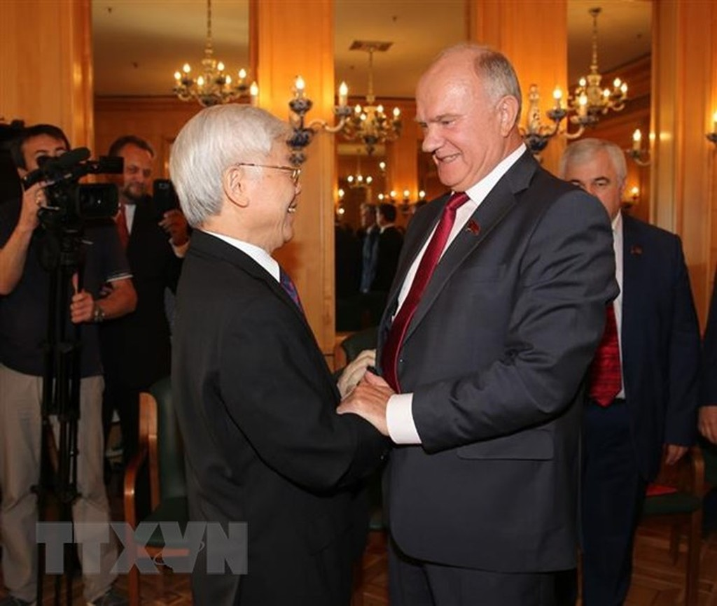 Tổng Bí thư Nguyễn Phú Trọng tiếp Chủ tịch Đảng Cộng sản Liên bang Nga Gennady Ziuganov.