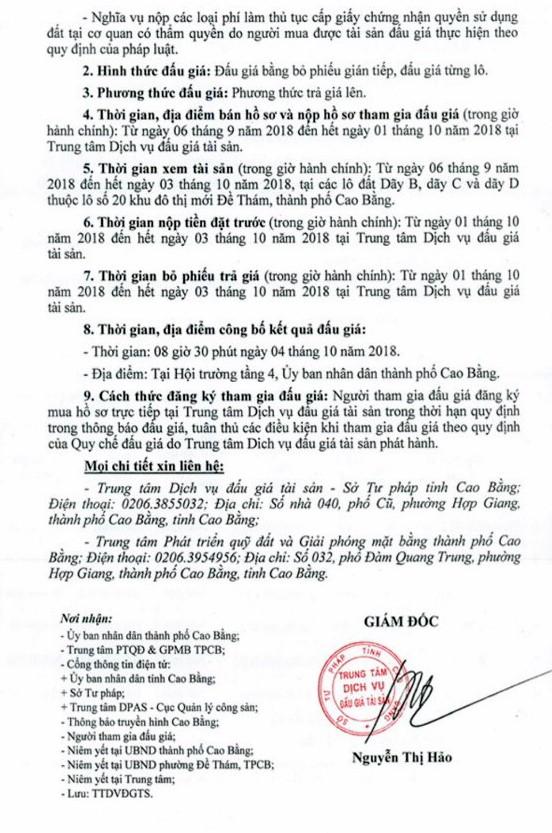 Ngày 4/10/2018, đấu giá quyền sử dụng đất tại thành phố Cao Bằng, Cao Bằng - ảnh 2