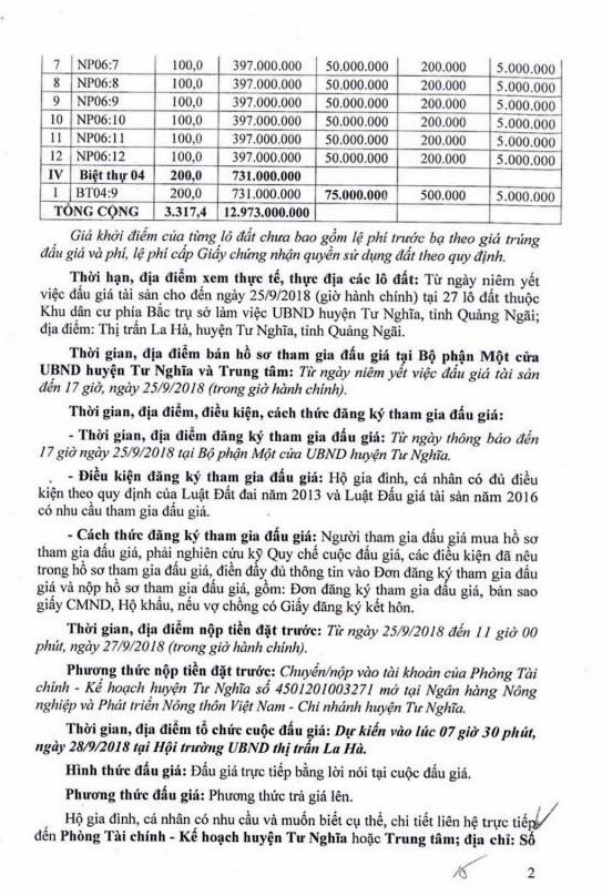 Ngày 28/9/2018, đấu giá quyền sử dụng 27 lô đất tại huyện Tư Nghĩa, Quảng Ngãi - ảnh 2
