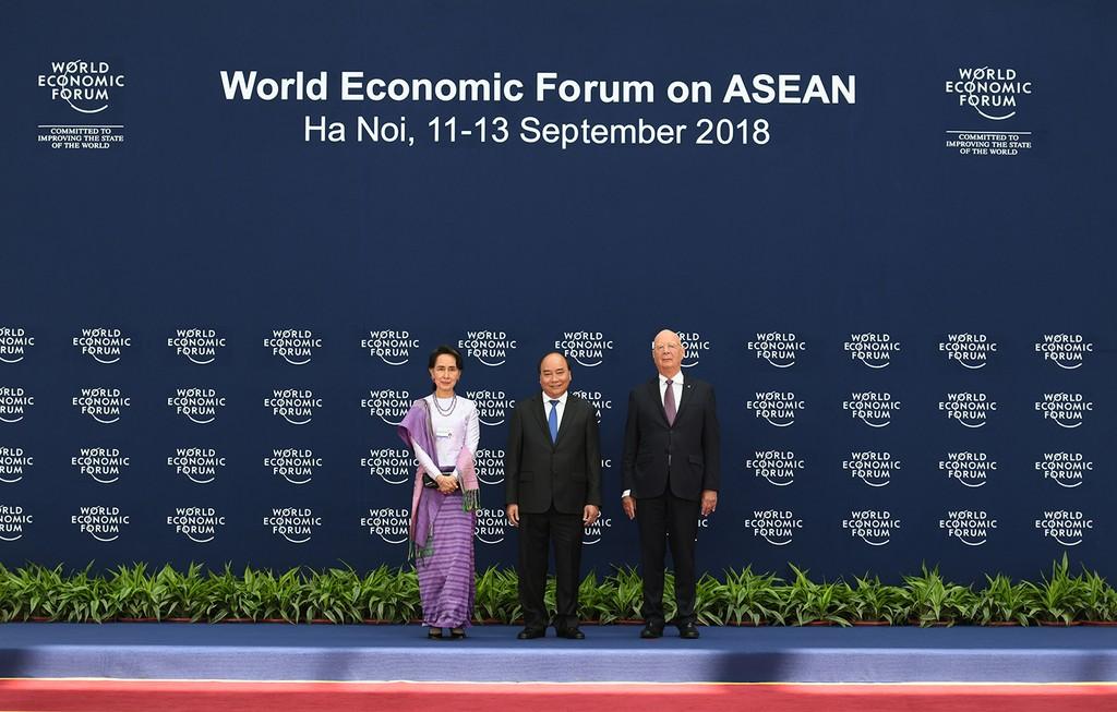 Chùm ảnh: Thủ tướng chủ trì lễ đón các trưởng đoàn dự WEF ASEAN 2018 - ảnh 6