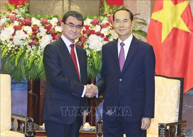 Chủ tịch nước Trần Đại Quang tiếp Bộ trưởng Ngoại giao Nhật Bản Taro Cono. Ảnh: TTXVN