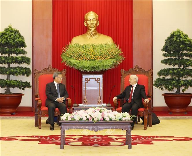 Tổng Bí thư tiếp Phó Thủ tướng Quốc vụ viện Trung Quốc. Ảnh: TTXVN