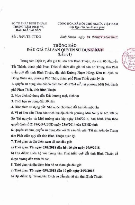 Ngày 27/9/2018, đấu giá quyền sử dụng đất tại thành phố Phan Thiết, Bình Thuận - ảnh 1