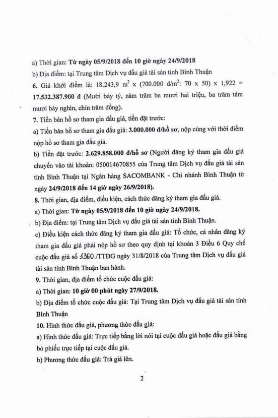 Ngày 27/9/2018, đấu giá quyền sử dụng đất (khu du lịch) tại thành phố Phan Thiết, Bình Thuận - ảnh 2