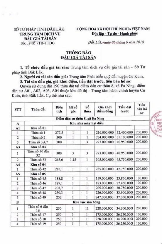 Ngày 4/10/2018, đấu giá quyền sử dụng đất tại huyện Cư Kuin, Đắk Lắk - ảnh 1