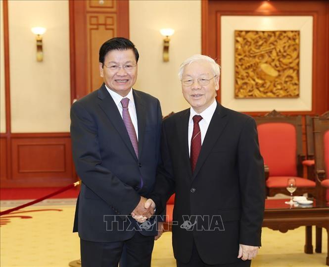 Tổng Bí thư Nguyễn Phú Trọng tiếp Thủ tướng Lào Thongloun Sisoulith. Ảnh: TTXVN
