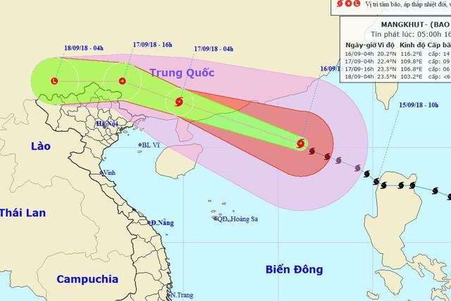 Vị trí và hướng di chuyển của bão số 6. (Ảnh: NHCMF).