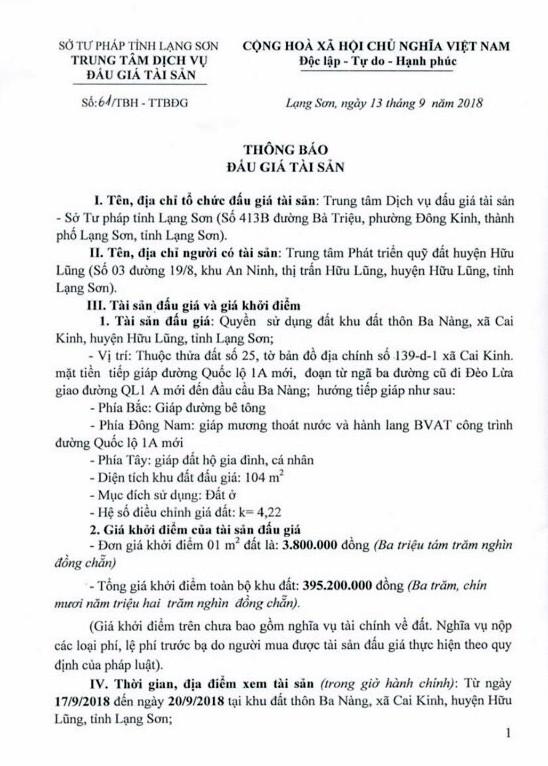 Ngày 4/10/2018, đấu giá quyền sử dụng đất tại huyện Hữu Lũng, Lạng Sơn - ảnh 1