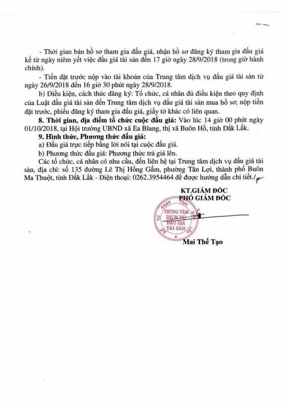 Ngày 11/10/2018, đấu giá quyền sử dụng đất tại thị xã Buôn Hồ, tỉnh Đắk Lắk - ảnh 2