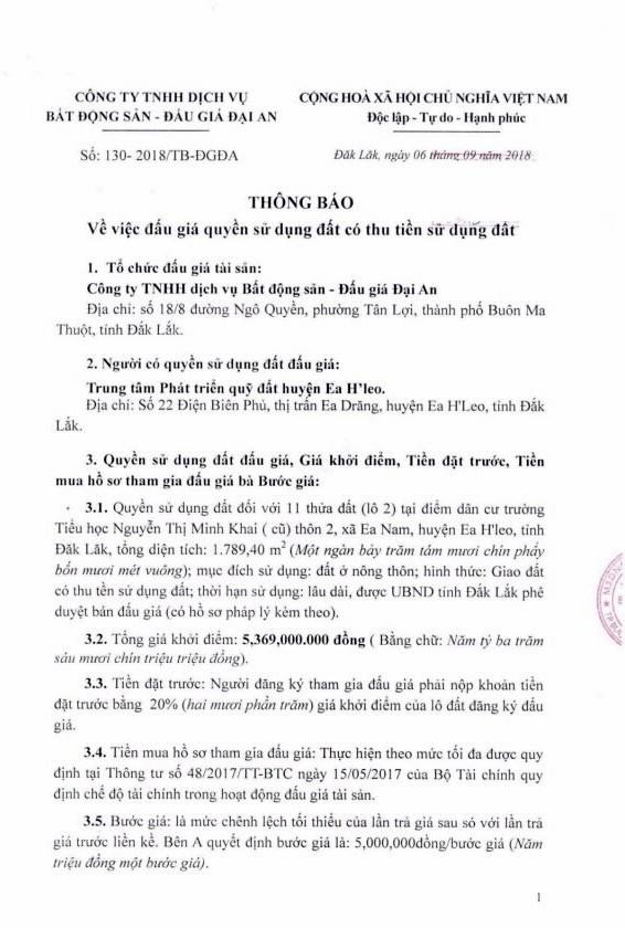 Ngày 5/10/2018, đấu giá quyền sử dụng đất tại huyện Ea H'Leo, tỉnh Đắk Lắk - ảnh 1