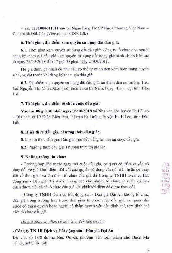 Ngày 5/10/2018, đấu giá quyền sử dụng đất tại huyện Ea H'Leo, tỉnh Đắk Lắk - ảnh 3