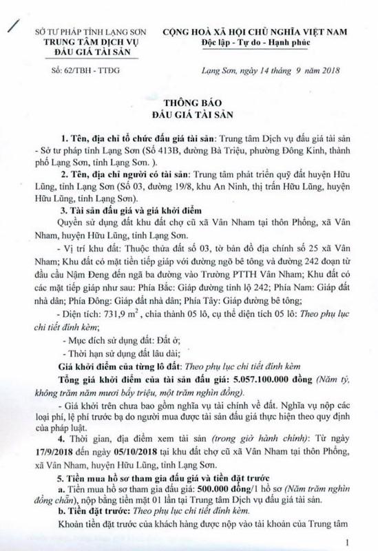 Ngày 11/10/2018, đấu giá quyền sử dụng đất tại huyện Hữu Lũng, Lạng Sơn - ảnh 1
