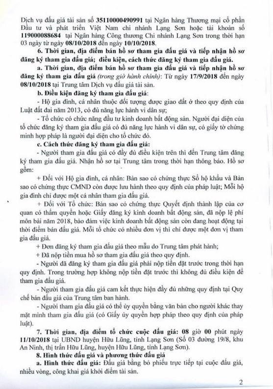 Ngày 11/10/2018, đấu giá quyền sử dụng đất tại huyện Hữu Lũng, Lạng Sơn - ảnh 2