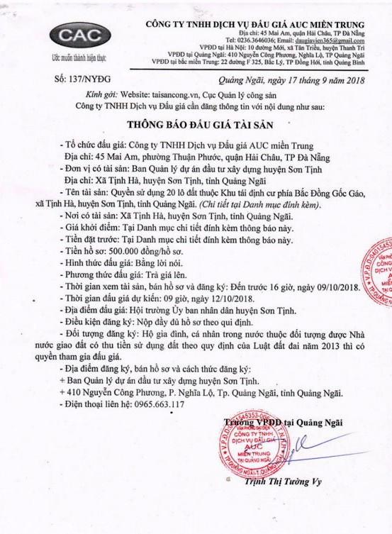 Ngày 12/10/2018, đấu giá quyền sử dụng đất tại huyện Sơn Tịnh, tỉnh Quảng Ngãi - ảnh 1