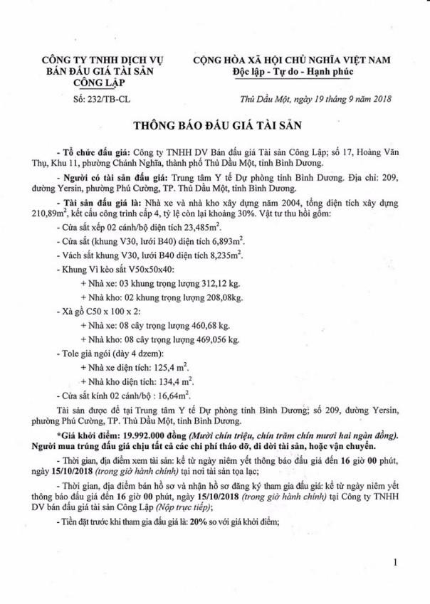 Ngày 18/10/2018, đấu giá nhà xe và nhà kho tại Bình Dương - ảnh 1