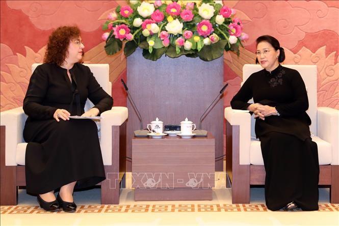 Chủ tịch Quốc hội Nguyễn Thị Kim Ngân tiếp bà Olga Epifanova, Phó Chủ tịch Duma quốc gia Liên bang Nga. Ảnh: TTXVN