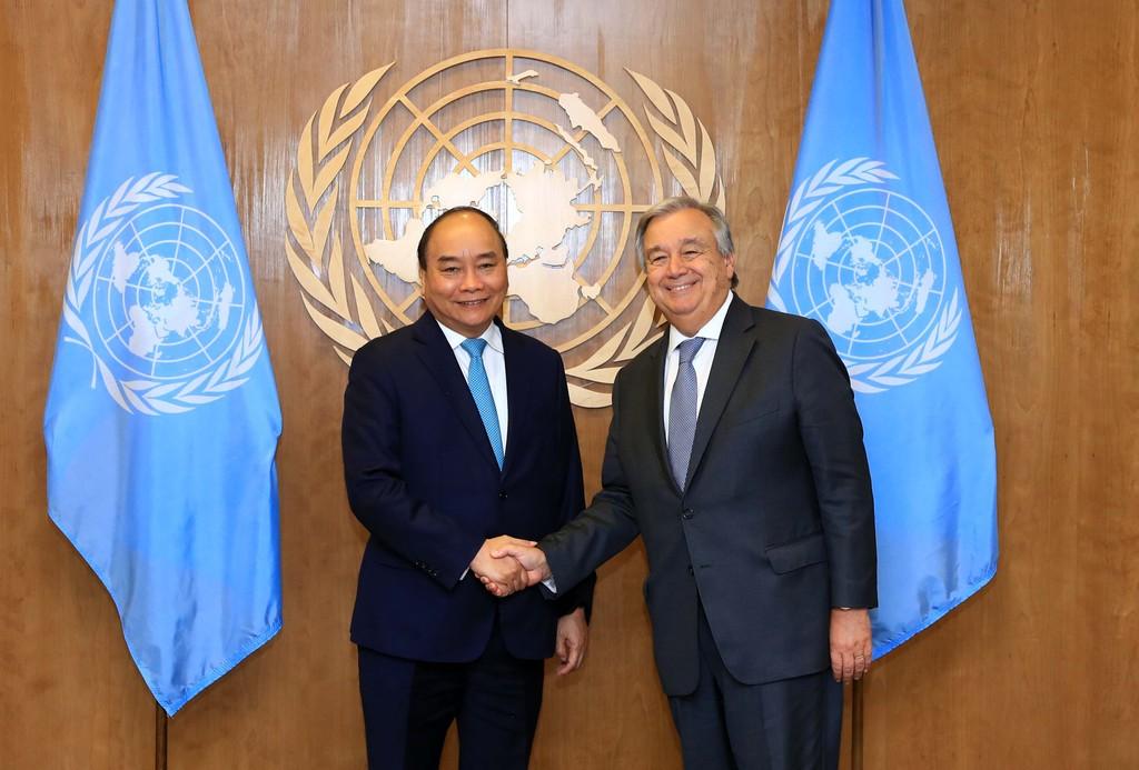 Thủ tướng gặp Tổng Thư ký và Chủ tịch Đại hội đồng Liên Hợp Quốc - ảnh 1
