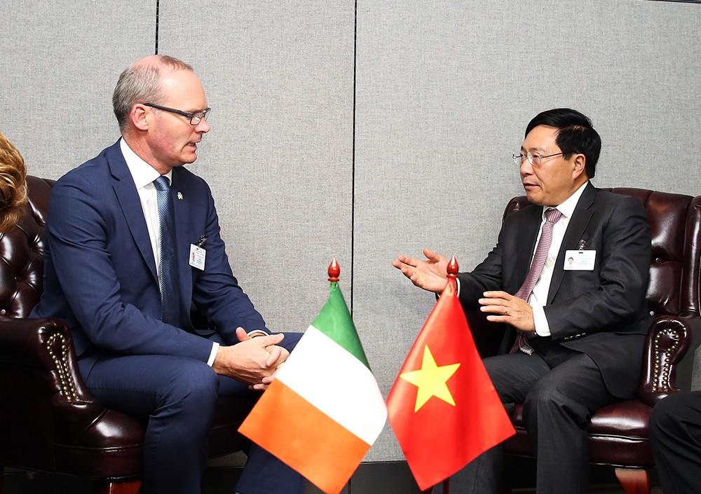 Phó Thủ tướng Phạm Bình Minh tiếp Phó Thủ tướng kiêm Bộ trưởng Ngoại giao và Thương mại Ireland Simon Conveney. Ảnh: VGP
