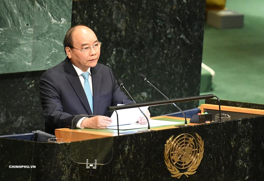 Thủ tướng Nguyễn Xuân Phúc phát biểu tại phiên thảo luận cấp cao Đại hội đồng LHQ. Ảnh: VGP