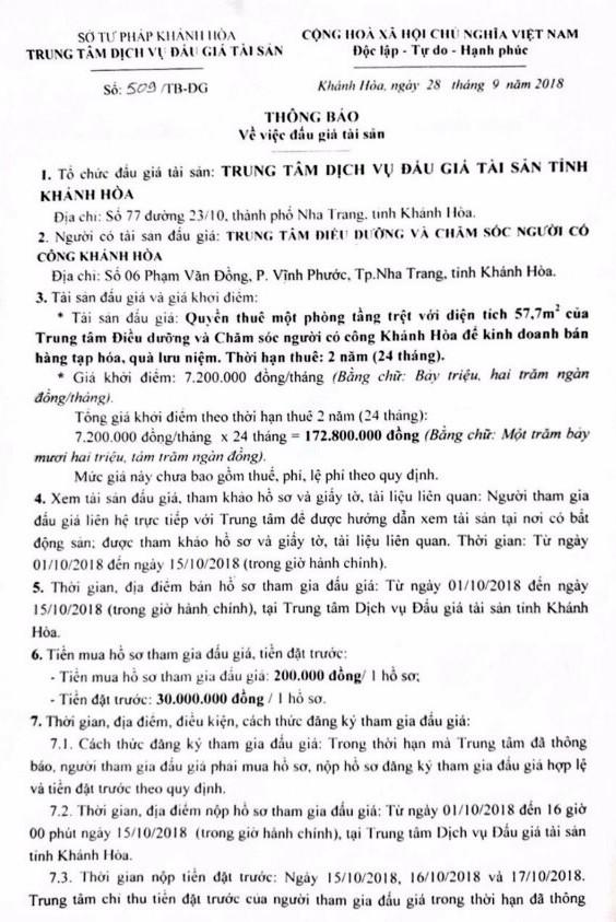 Ngày 18/10/2018, đấu giá cho thuê phòng để kinh doanh tại Khánh Hòa - ảnh 1