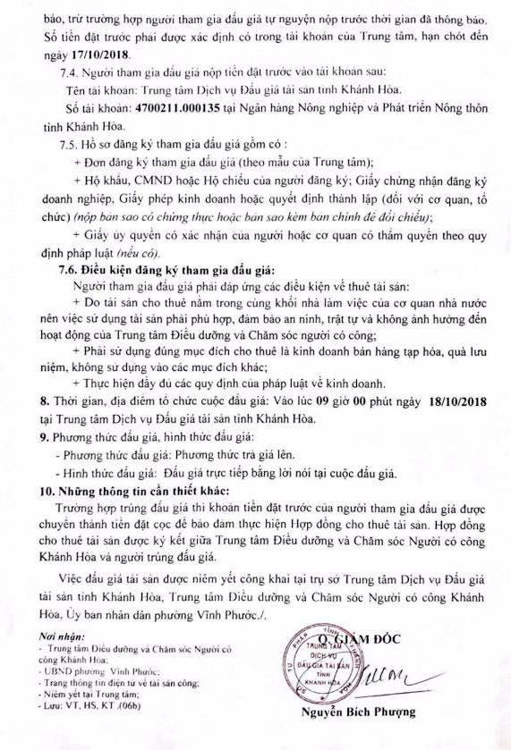 Ngày 18/10/2018, đấu giá cho thuê phòng để kinh doanh tại Khánh Hòa - ảnh 2
