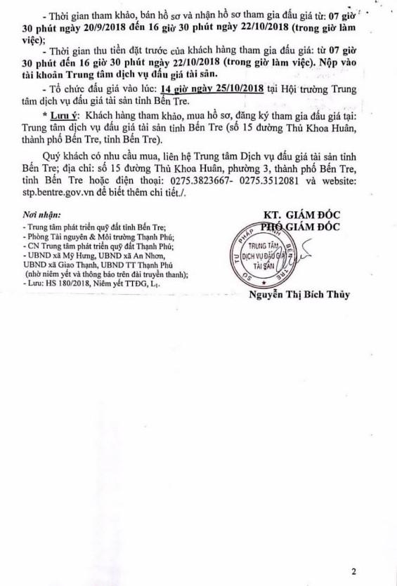 Ngày 25/10/2018, đấu giá quyền sử dụng đất tại huyện Thạch Phú, tỉnh Bến Tre - ảnh 2